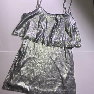Silver Sequined Flapper Dress Medium